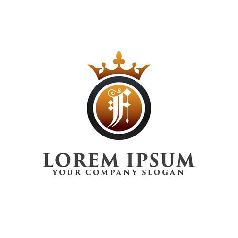 Lyx Letter F med krona Logo design koncept mall