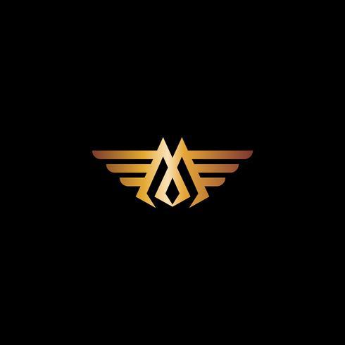 Modello di concetto di disegno di marchio di lusso di lettera M Wings vettore