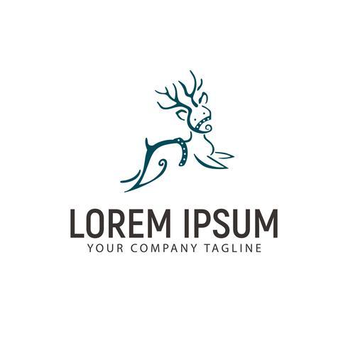 deer hand drawn logo design concept template