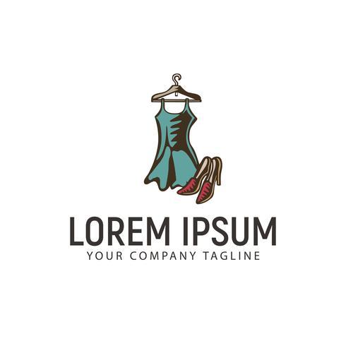 kleding en schoenen hand getrokken logo ontwerpsjabloon concept vector