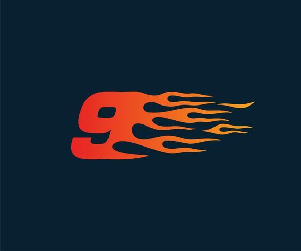 Nummer 9 brandflamma Logo. Speed Race Design Concept mall vektor