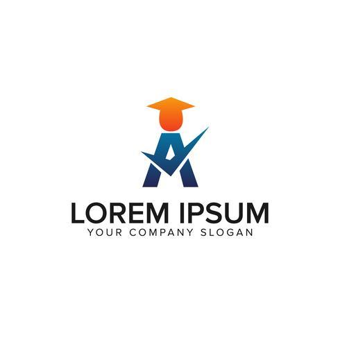 lettera Un modello di concetto di educazione logo design