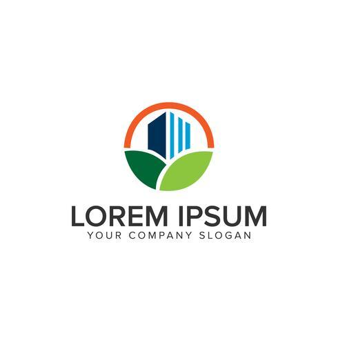 Plantilla de concepto de diseño de logotipo de construcción verde vector