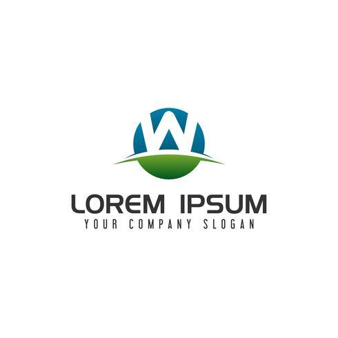 Plantilla de concepto de diseño de logo de círculo de letra W