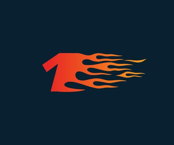 Número 1 fuego llama Logo. Plantilla de concepto de diseño de carrera de velocidad