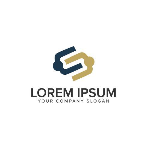 personnes partenaires avec modèle de lettre S Logo design concept