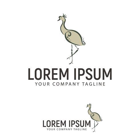 swan hand drawn logo design concept template
