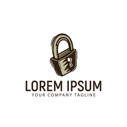 Logodesign-Konzeptschablone der Vorhängeschlossweinlese Retro- Hand gezeichnete