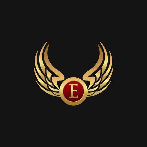 Plantilla de concepto de diseño de logotipo de lujo letra E emblema alas vector