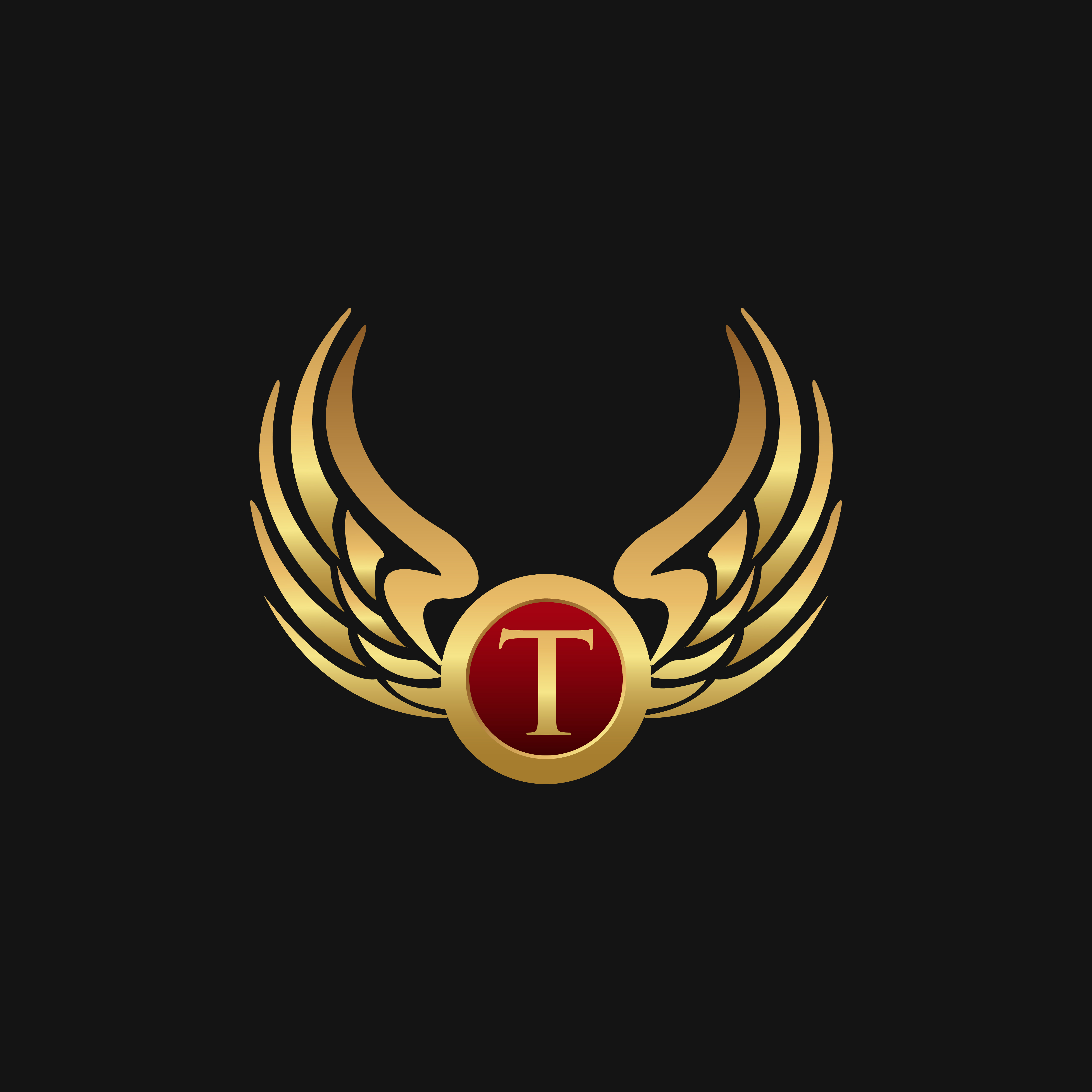 Luxury Letter T Emblem Wings Logo Design Concept Template