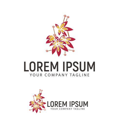 Plantilla de concepto de diseño de logotipo dibujado a mano flor vector