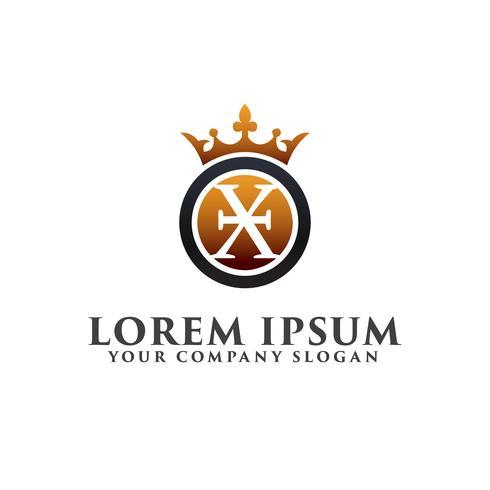 Carta de lujo X con plantilla de concepto de diseño de logotipo de corona