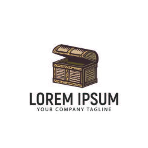 modello di concetto di design logo disegnato a mano retrò scatola del tesoro