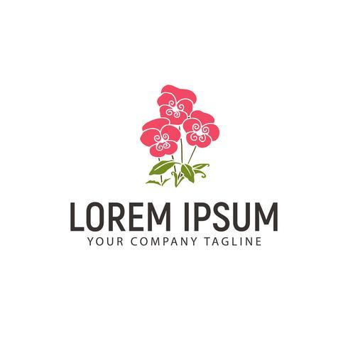 modello di concetto di progettazione logo disegnato a mano fiore vettore