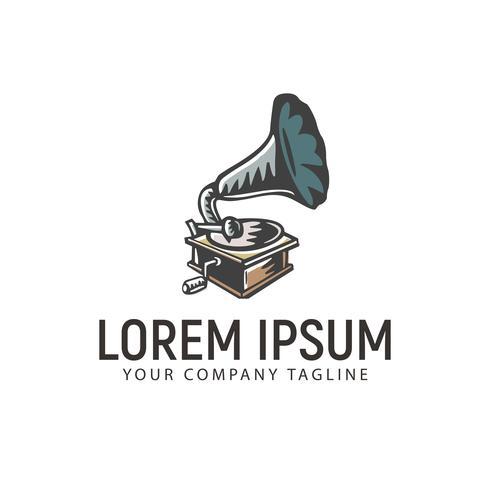 plantilla de concepto de diseño de logotipo dibujado mano retro fonógrafo