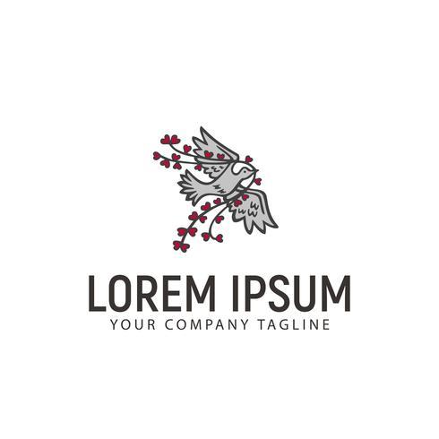 duif en liefde touw hand getrokken logo ontwerpsjabloon concept