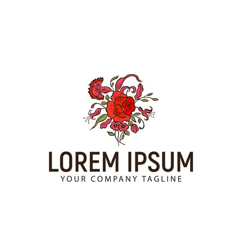 blomma handgjorda logotypen. bröllopsdesign koncept mall