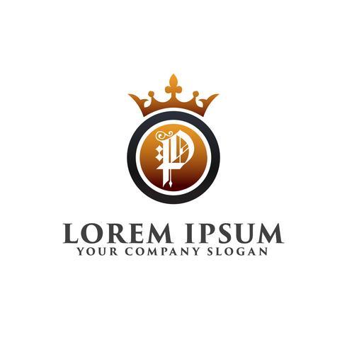 Carta de lujo P con plantilla de concepto de diseño de logotipo de corona