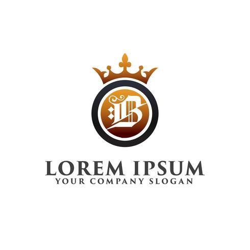 Carta de luxo B com coroa modelo de conceito de design de logotipo vetor