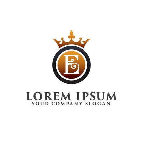 Letra de lujo E con plantilla de concepto de diseño de logotipo de corona