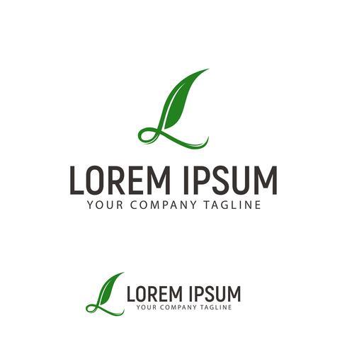 modello di concetto di disegno di lettera L logo foglia