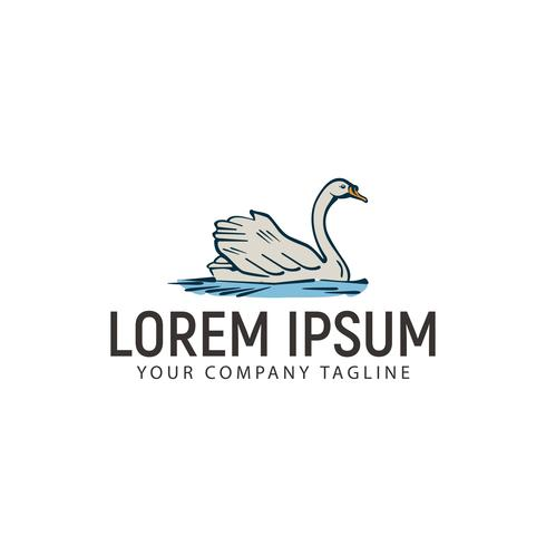 modèle de concept de design logo dessiné main swan