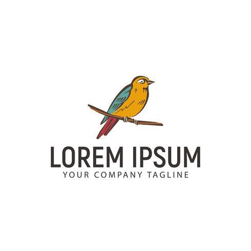 fågel handritad logo design koncept mall vektor