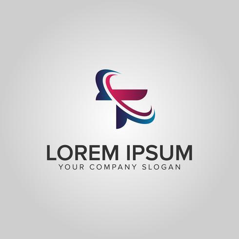 modello di concetto di disegno di lettera T tecnologia logo