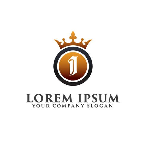 Luxury Letter I with crown Logo design concept template vector