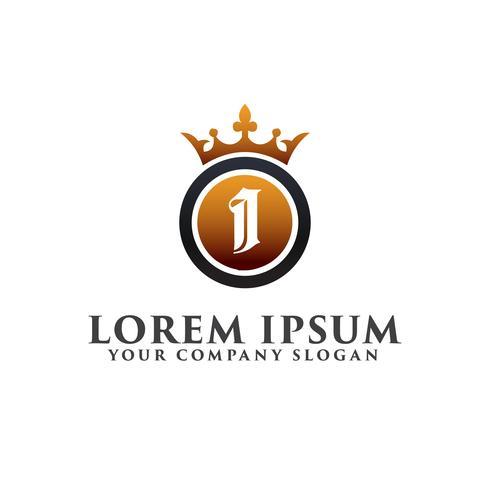 Carta de lujo I con plantilla de concepto de diseño de logotipo de corona