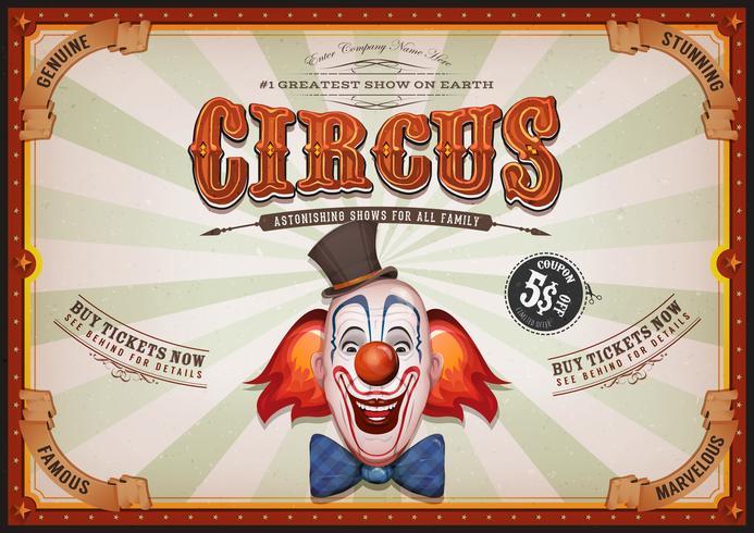 Poster vintage del circo con testa di pagliaccio vettore