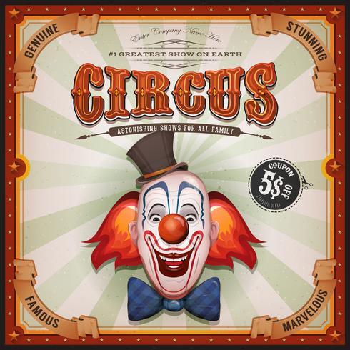 Cartel de circo vintage con cabeza de payaso