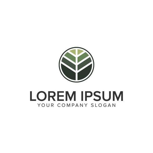 leaf circle logo design concept template
