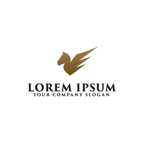 Plantilla de concepto de diseño de logotipo de alas de caballo