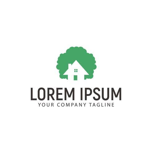 boomhutten logo. groen huis logo ontwerpsjabloon concept
