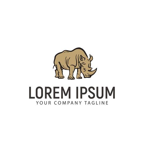 Rhino hand getrokken logo ontwerpsjabloon concept