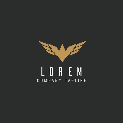 Modèle de concept de luxe logo lettre ailes ailes logo vecteur