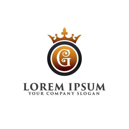 Luxury Letter G con corona Logo design concept template vettore
