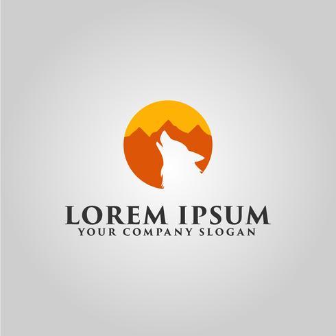 logotipo do lobo. modelo de conceito de design de paisagem de montanha