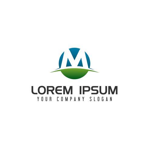 modèle de concept de lettre M cercle logo design vecteur