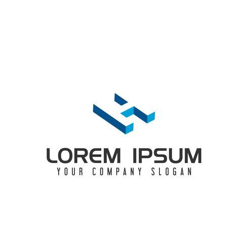 Modèle de concept de conception de logo espace négatif lettre