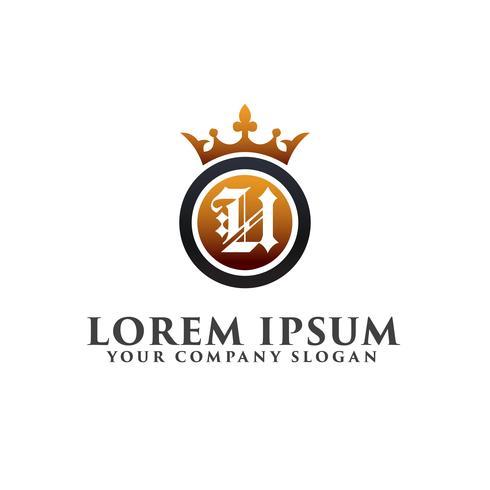 Carta de lujo U con plantilla de concepto de diseño de logotipo de corona vector