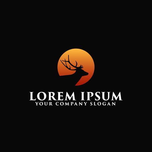 luxury deer with sun logo design concept template vector