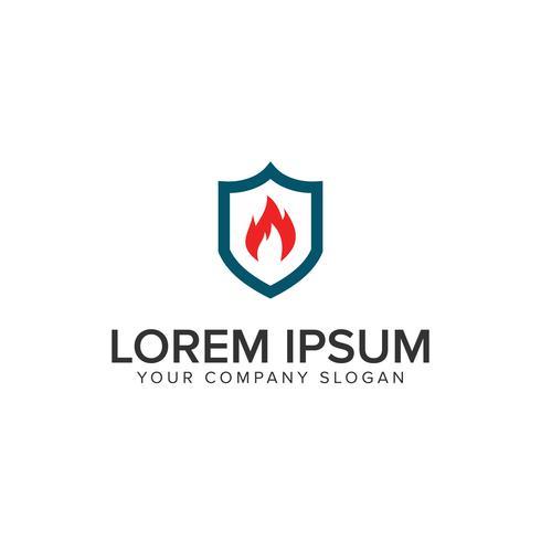 Plantilla de concepto de diseño de logotipo escudo fuego