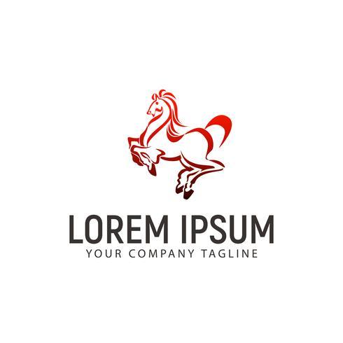 modèle de concept de logo de saut de cheval vecteur
