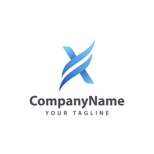 Letter X Wave logo design template vector