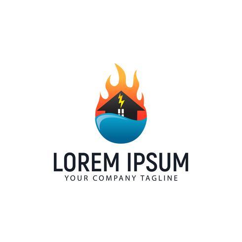 Hauspflege-Logo. Feuerwasser-Design-Konzept-Vorlage