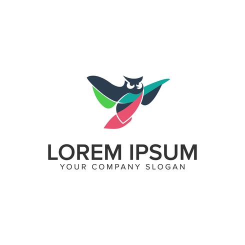 modelo de conceito de design de logotipo de coruja