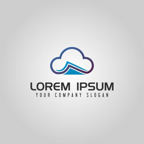 Modello di concetto di progettazione di logo documento cloud