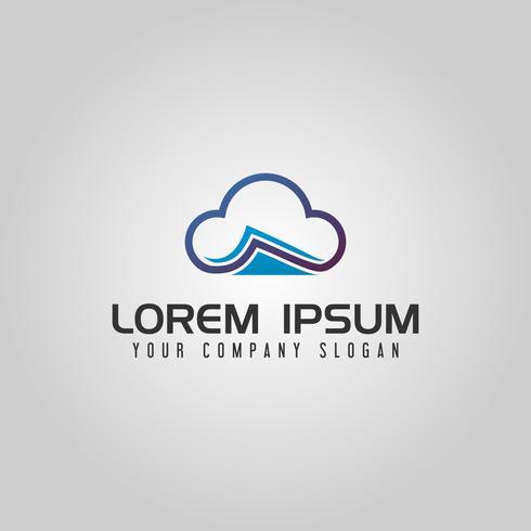 Cloud dokumentlogotyp design koncept mall
